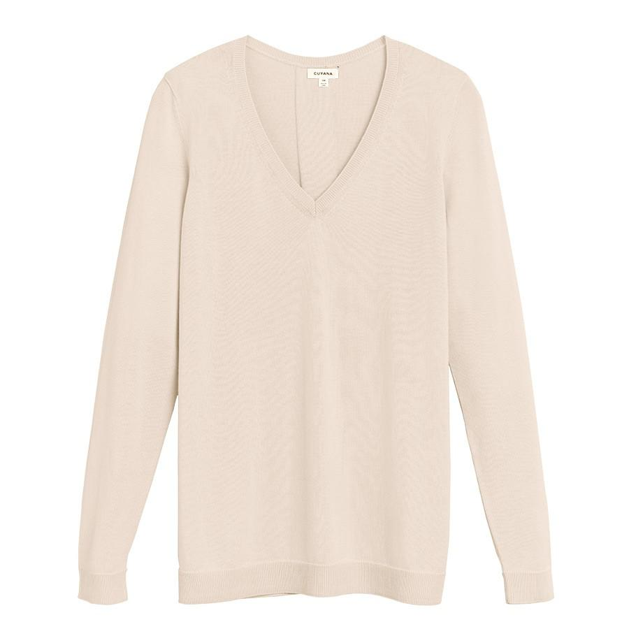 Women's Classic Cotton Cashmere V-Neck Sweater in Sand | Size: