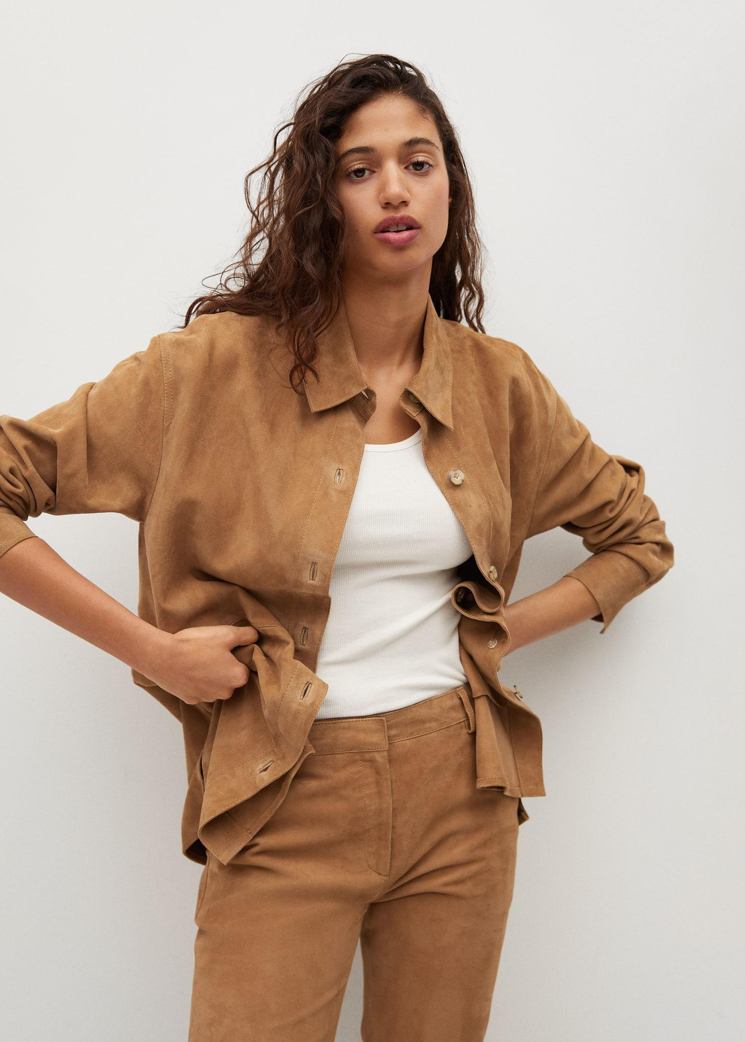 Buttons leather overshirt