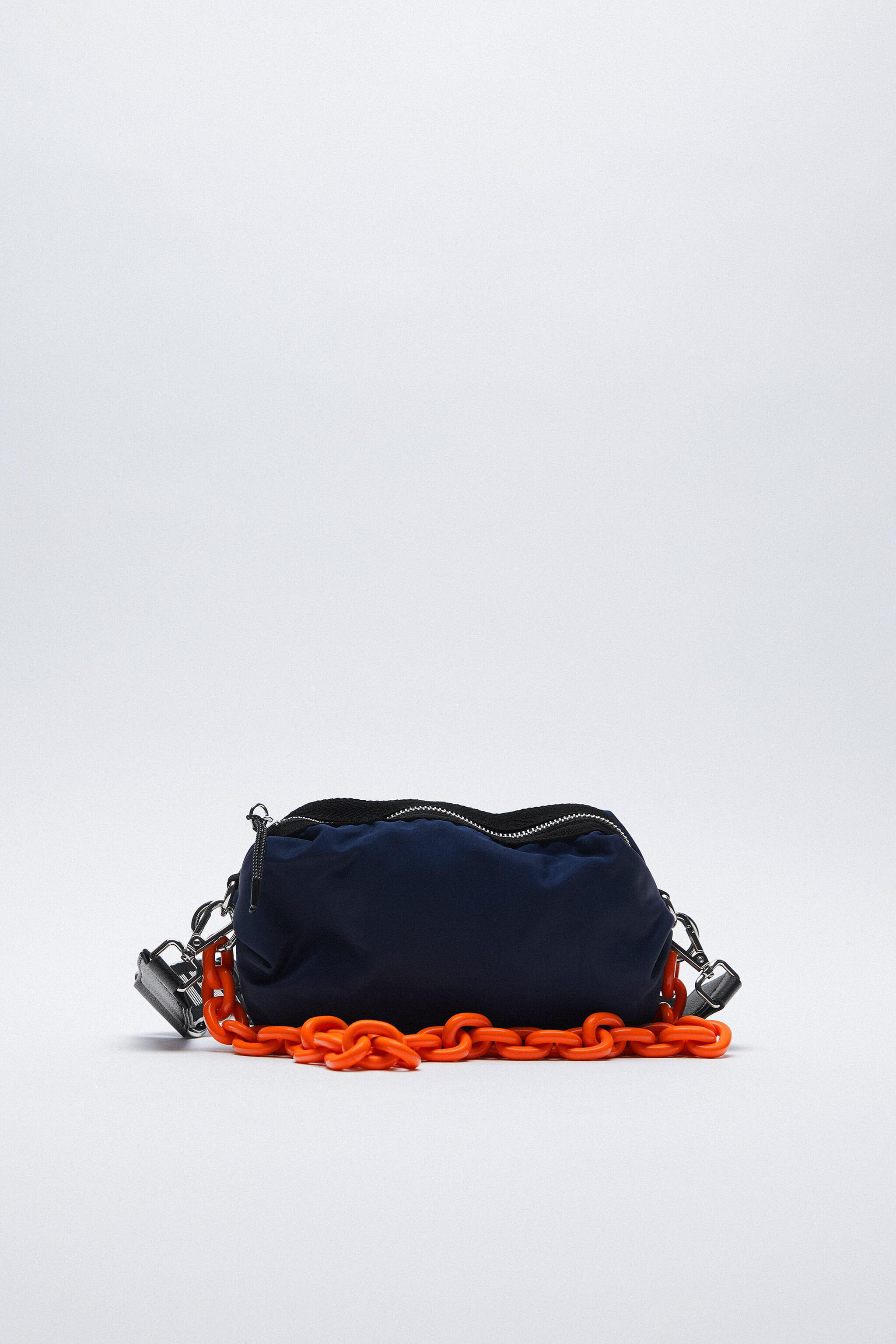 NYLON CROSSBODY BAG WITH CHAIN AND TEXT DETAIL 0
