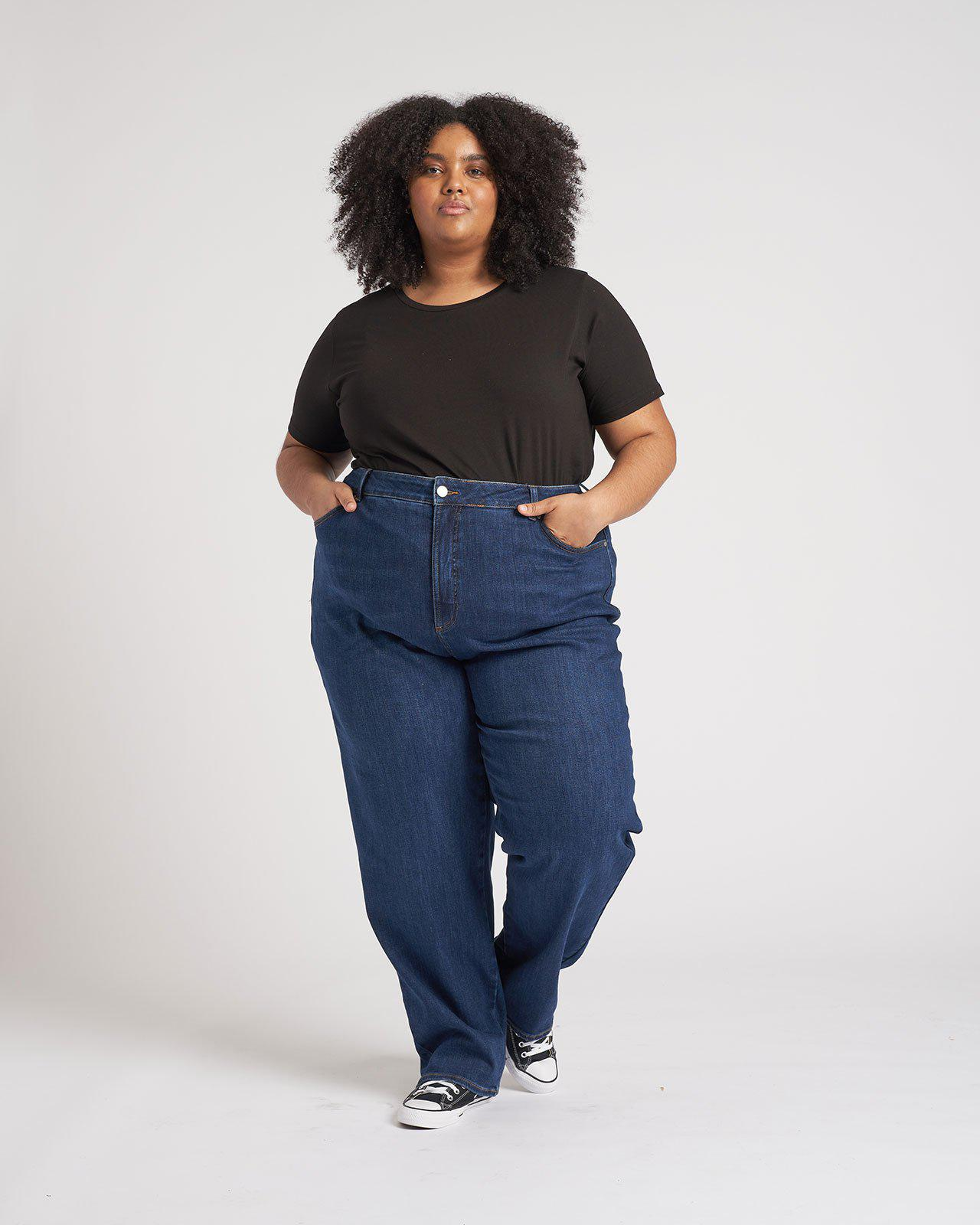 Donna High Rise Curve Straight Leg Jeans 32 Inch 1