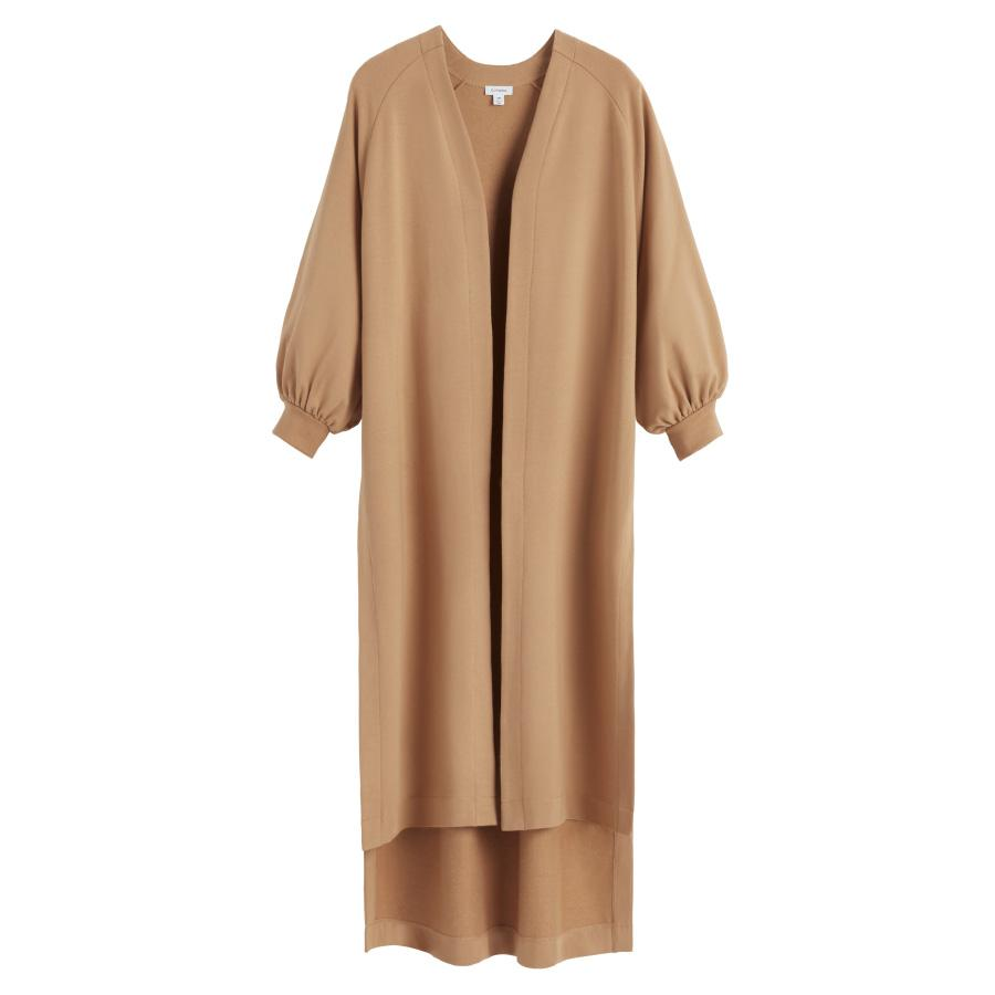 Women's French Terry Long Cardigan in Camel | Size: