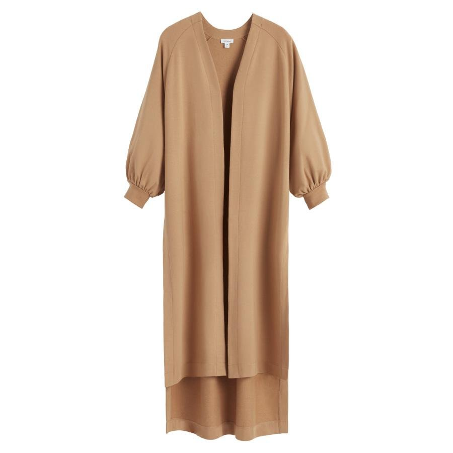 Women's French Terry Long Cardigan in Camel | Size: S/M | Organic French Terry by Cuyana