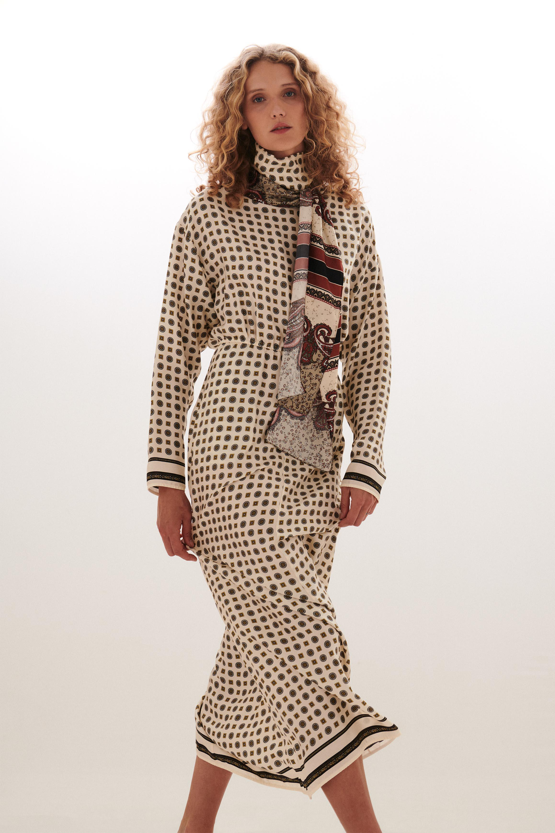Scarf Dress with Cinched Waist
