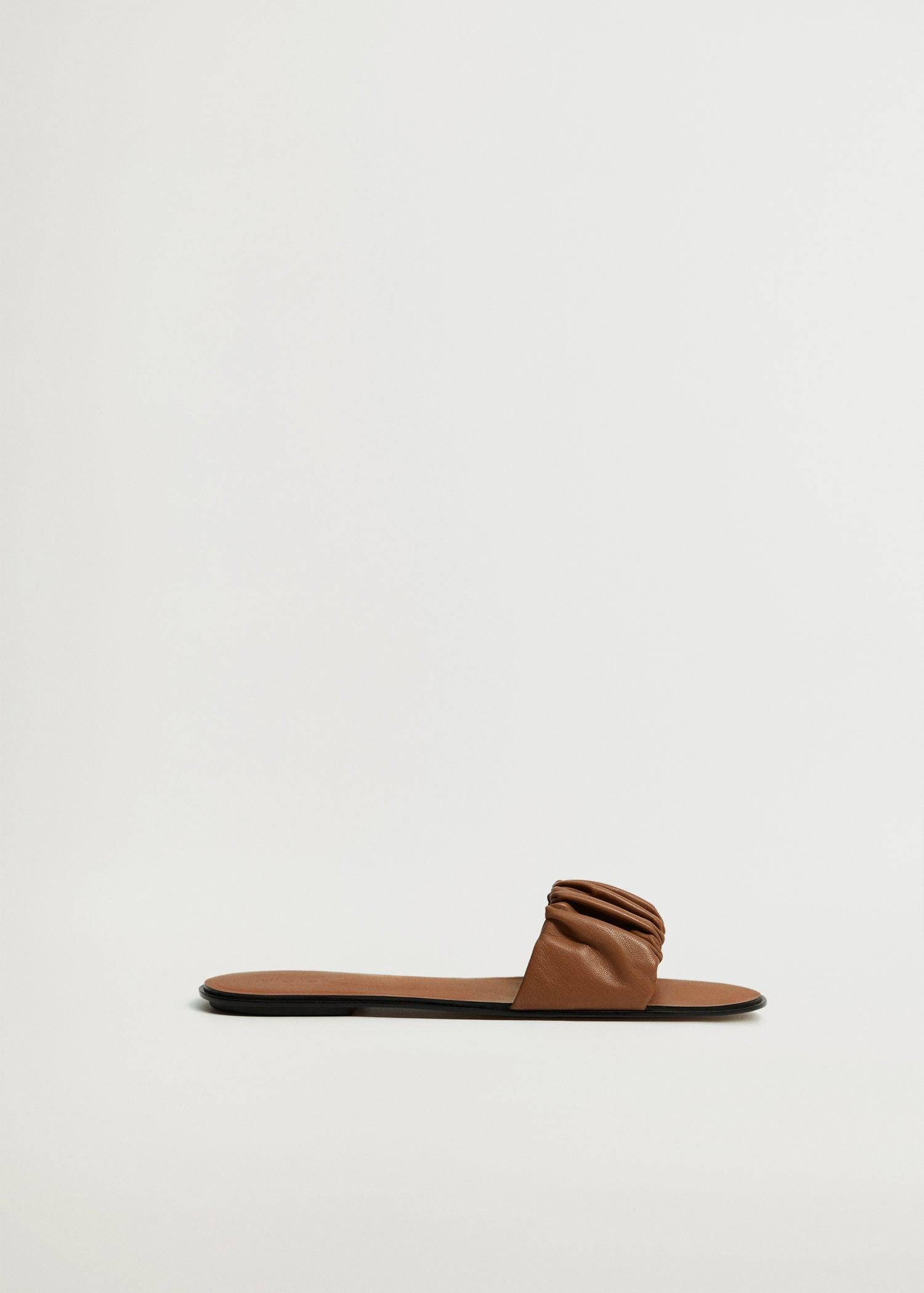 Ruched leather sandals