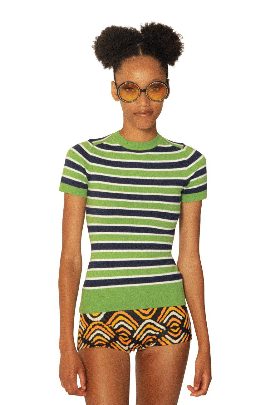 Striped Lime Jelly Crew Neck T