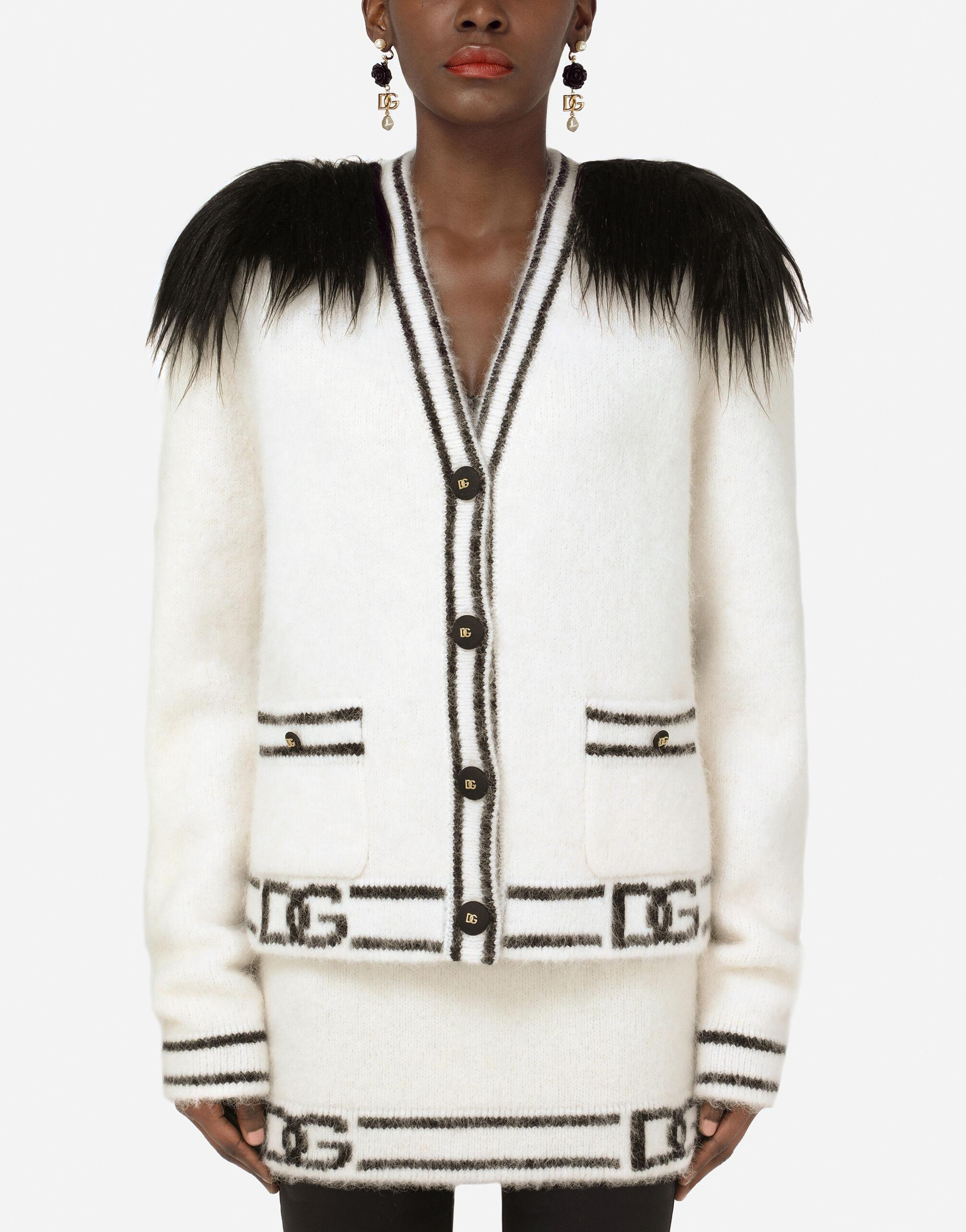 Cashmere and faux fur cardigan