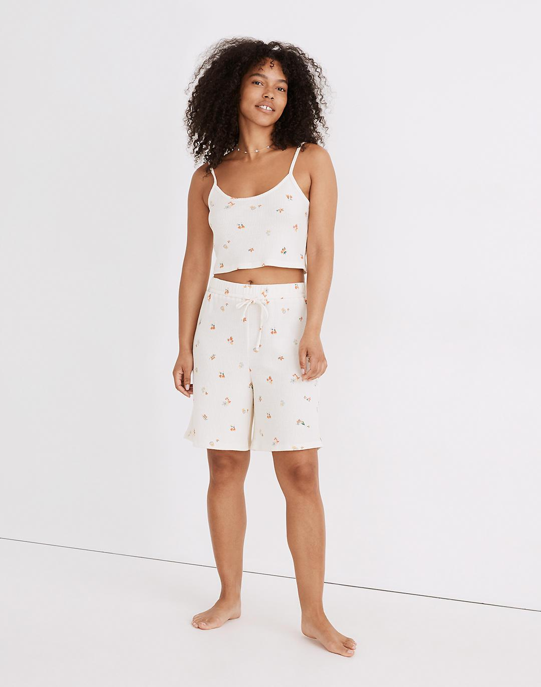 Waffle Knit Pajama Crop Cami in Floral Reef