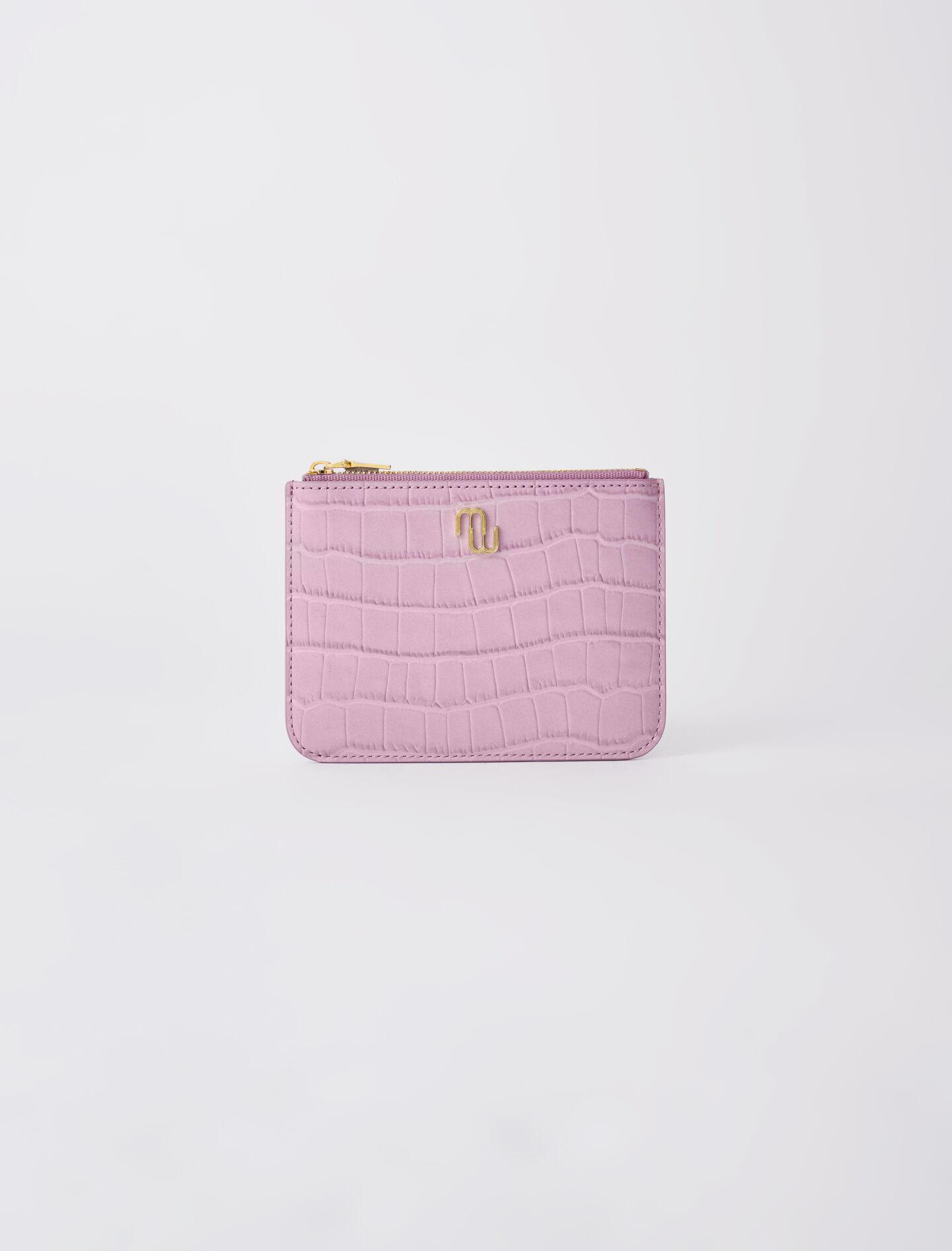 ZIP-UP EMBOSSED LEATHER POUCH