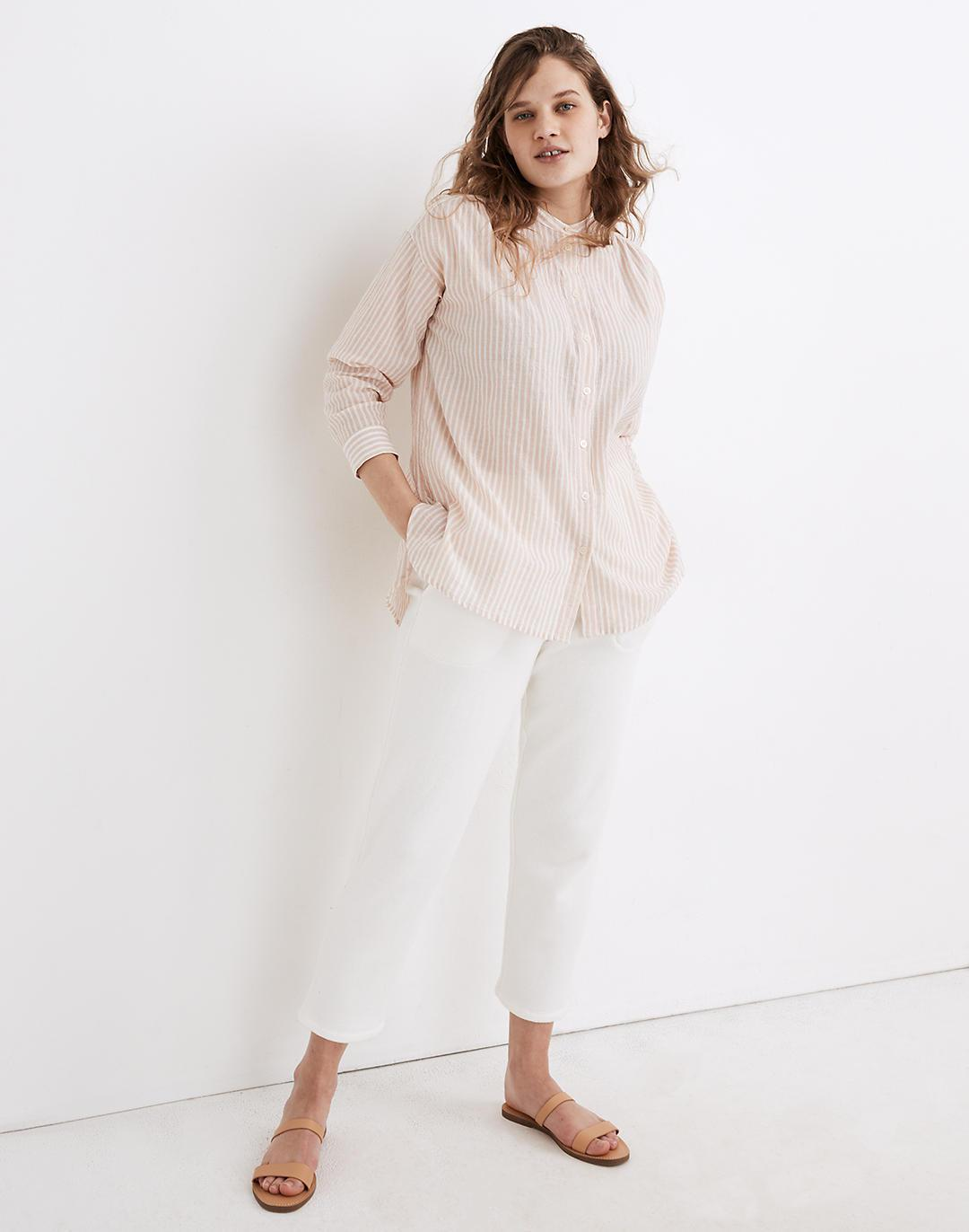 Banded Collar Tunic Top in Stripe