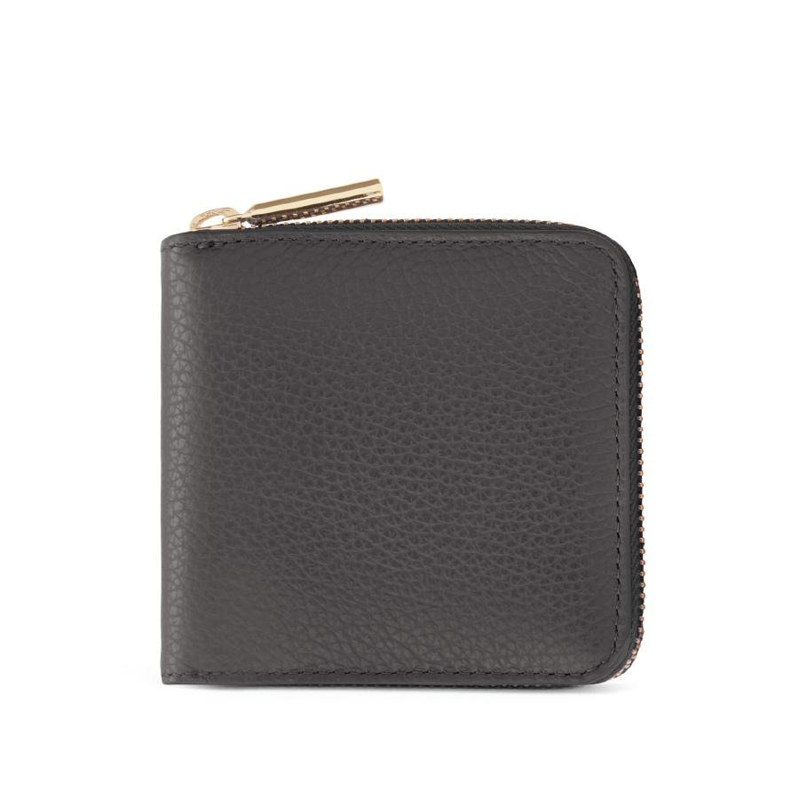 Women's Small Classic Zip Around Wallet in Charcoal | Pebbled Leather by Cuyana