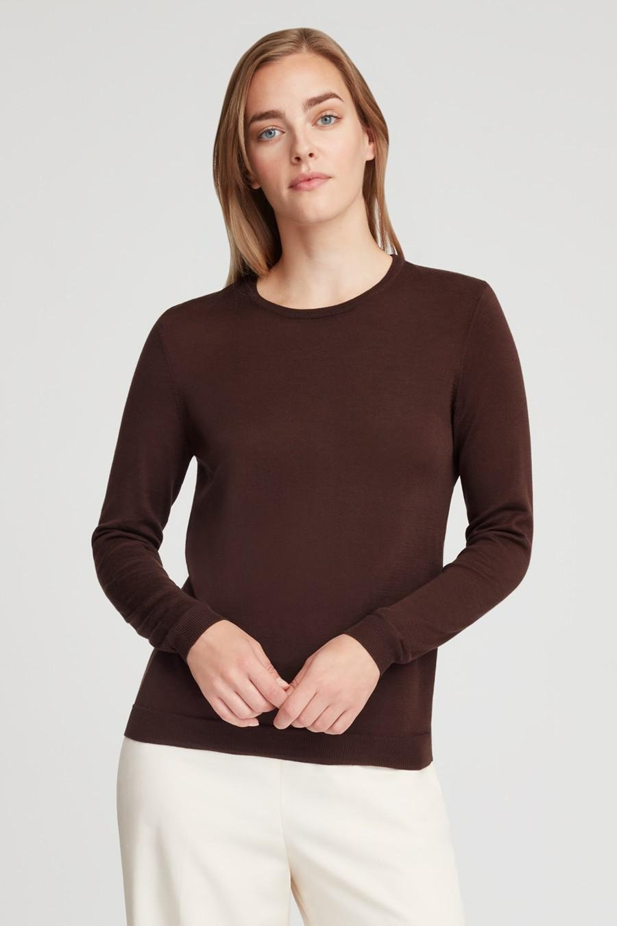 Women's Classic Cotton Cashmere Crewneck Sweater in Chocolate | Size: 1