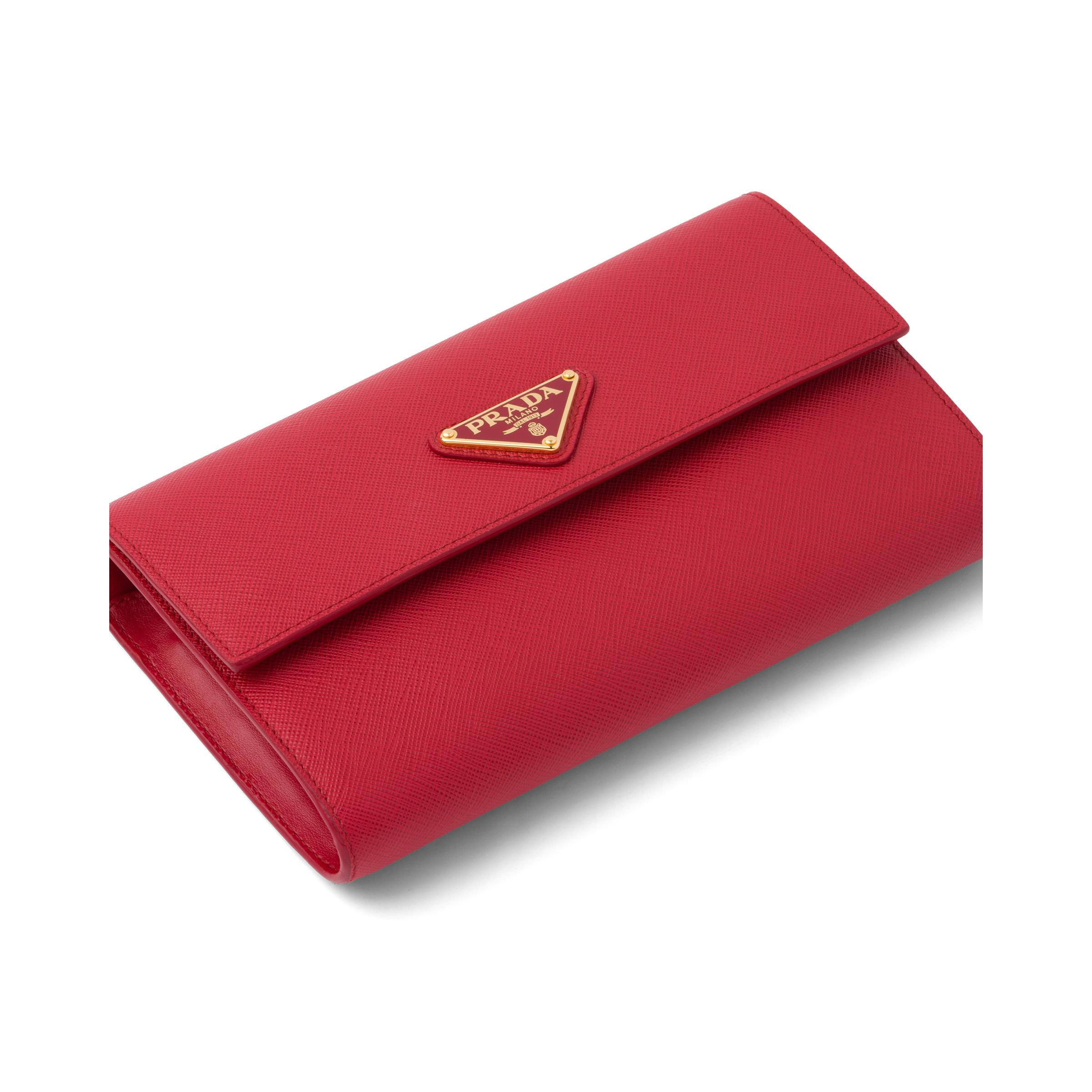 Saffiano And Leather Wallet With Shoulder Strap Women Fiery Red 1