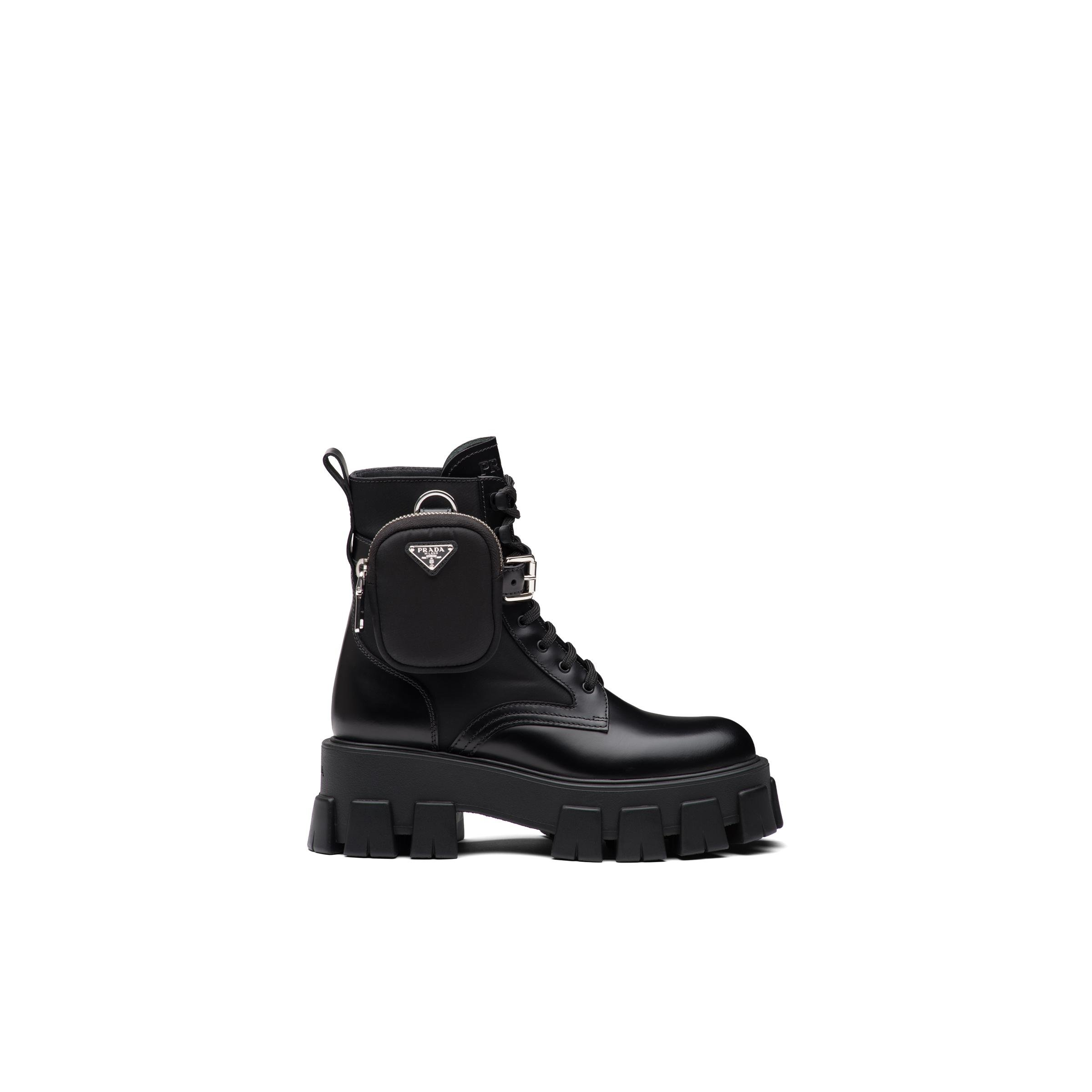 Brushed Rois Leather And Nylon Monolith Boots Women Black 2