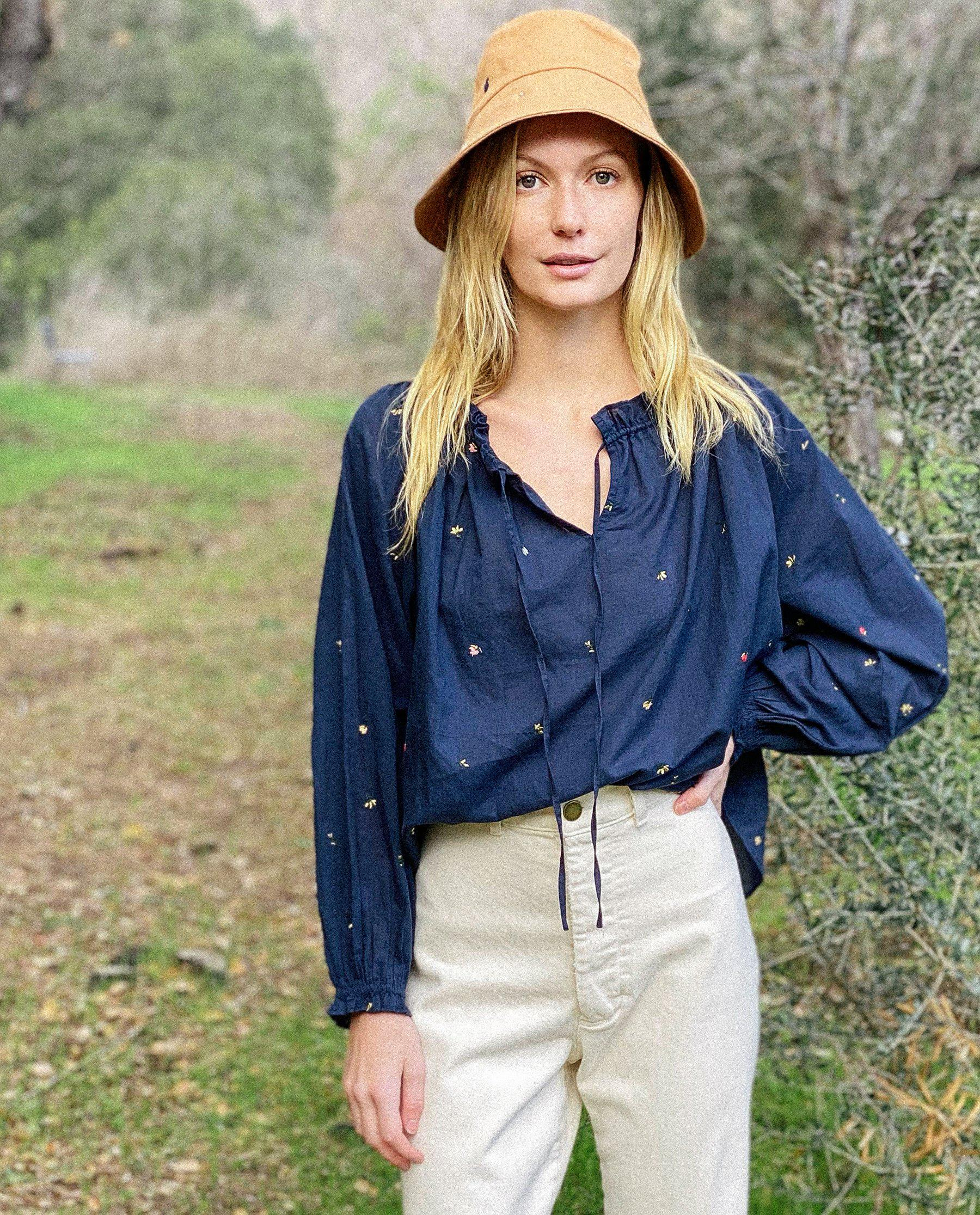 The Posey Top. -- Navy with Tossed Floral Embroidery 1