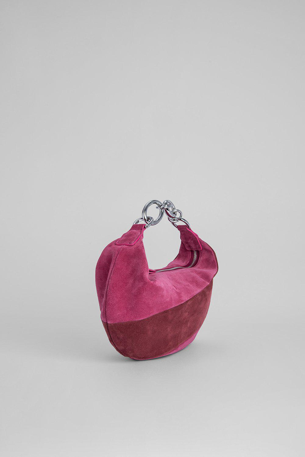 Bougie Fuchsia and Dark Brown Suede Leather 1