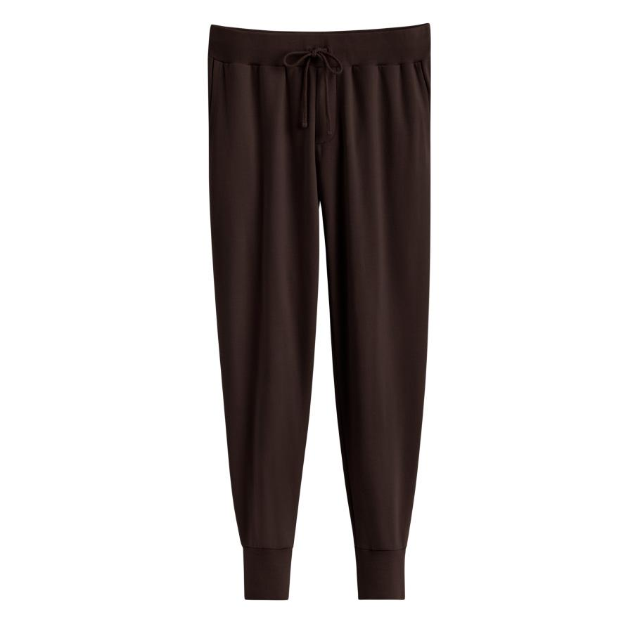Women's French Terry Tapered Lounge Pant in Chocolate | Size: