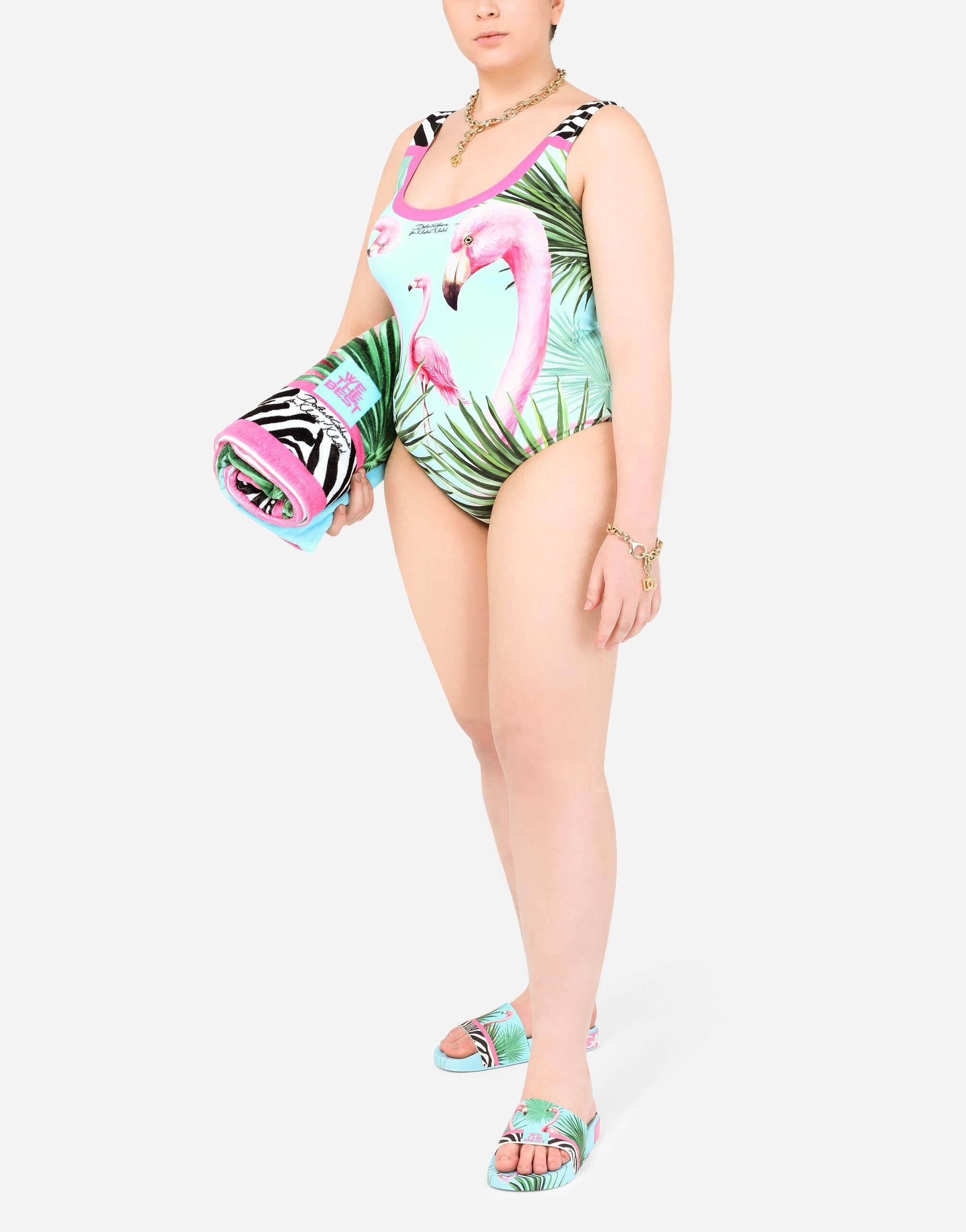 One-piece racing swimsuit with flamingo print
