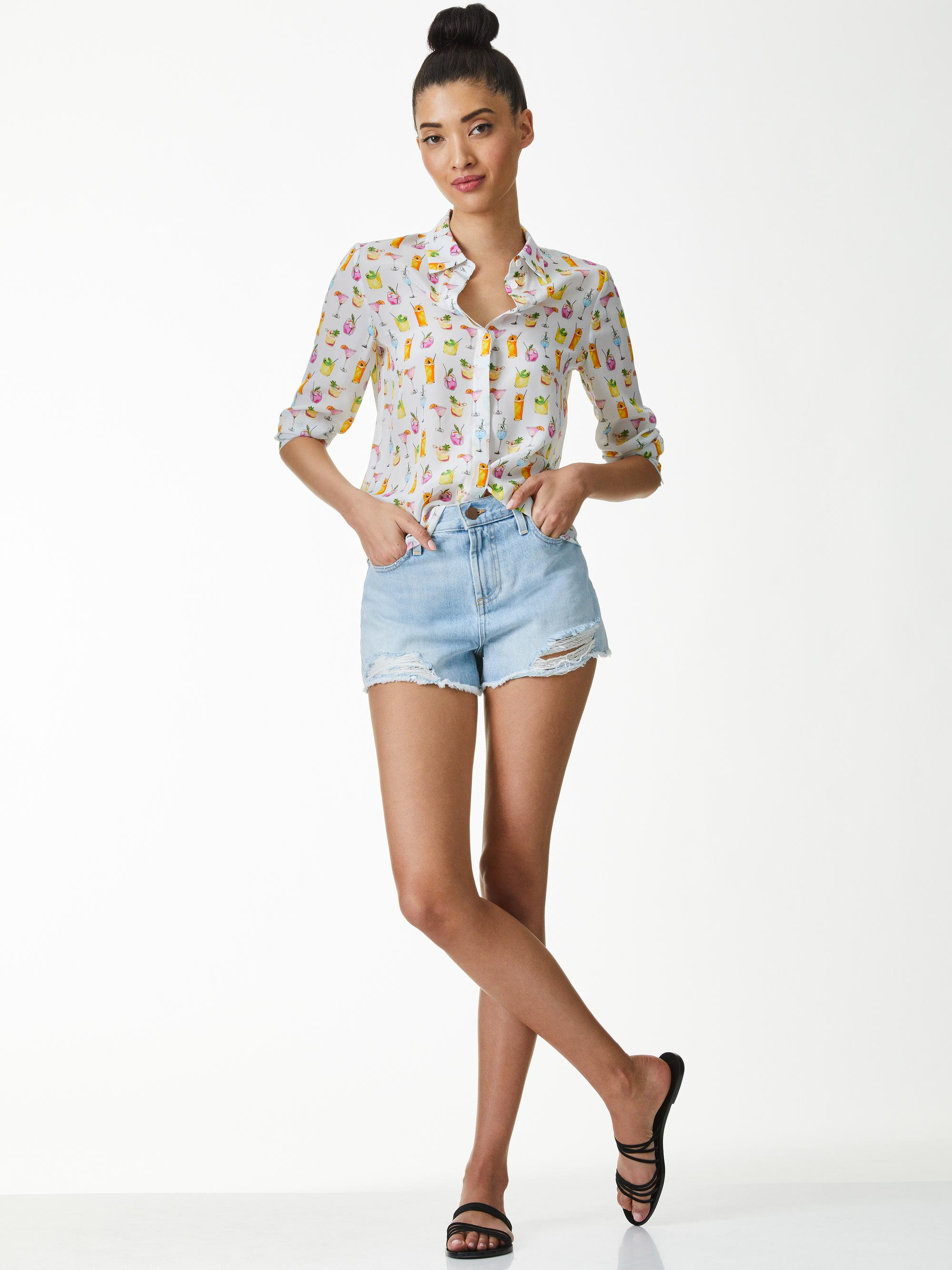 WILLA COCKTAIL PRINT PLACKET TOP 2