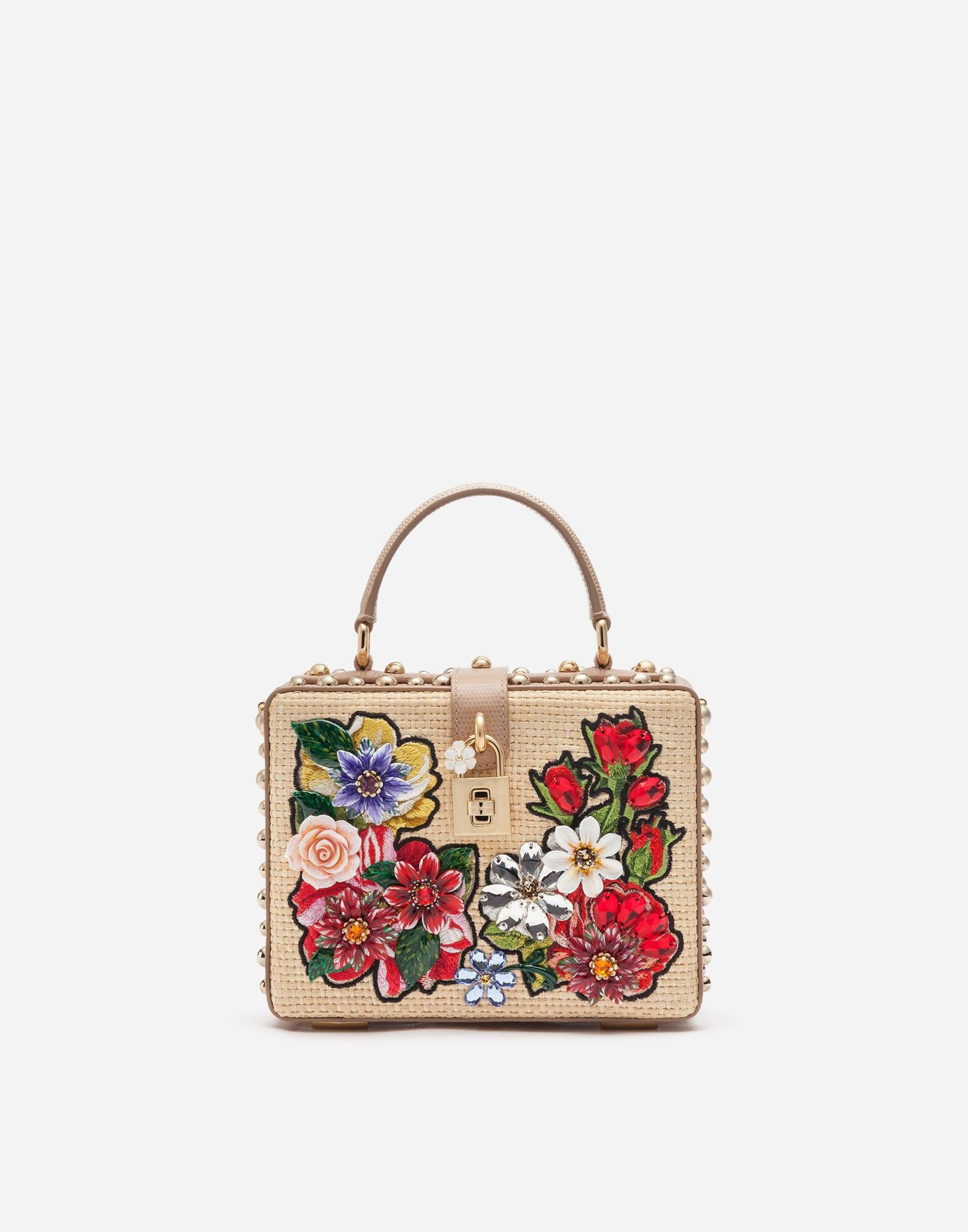 Dolce Box bag in braided raffia with thread embroidery