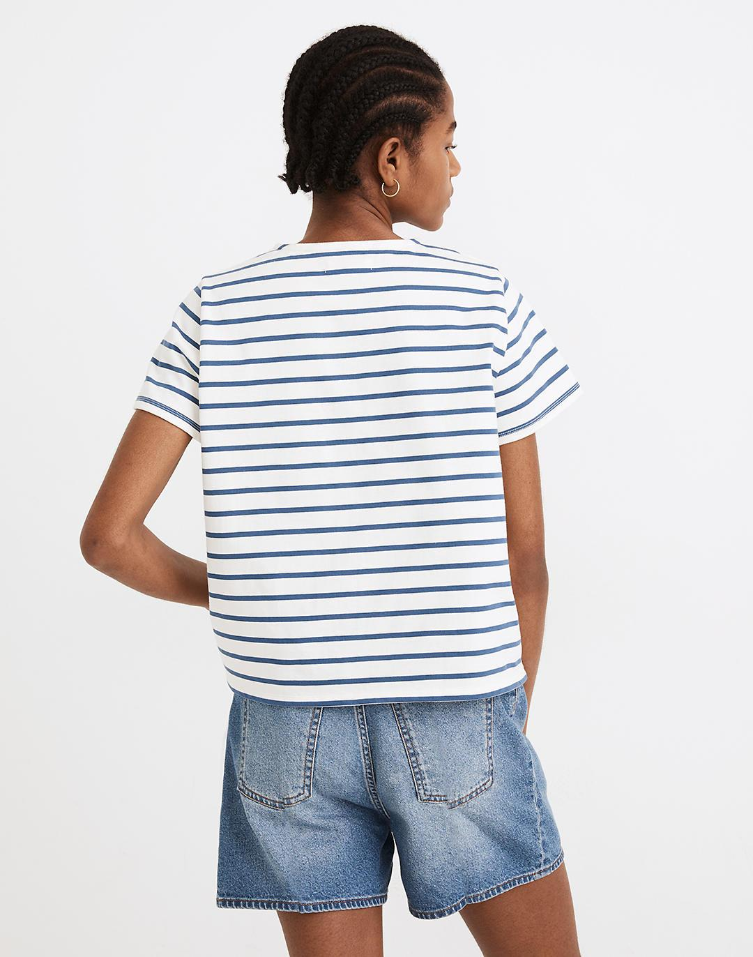 Luxe Boxy-Crop Tee in Atmore Stripe 2