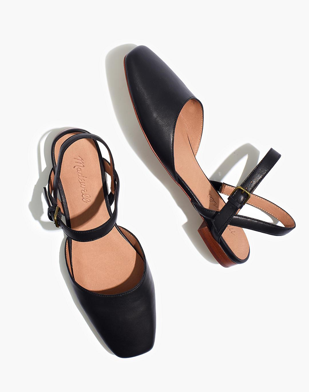 The Jeanne Slingback Flat in Leather