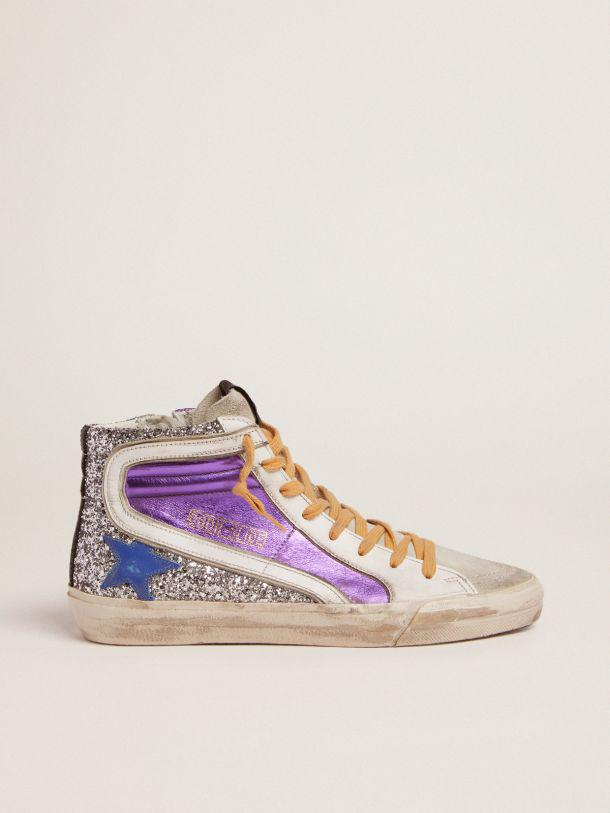 Slide sneakers with silver glitter and purple laminated leather upper