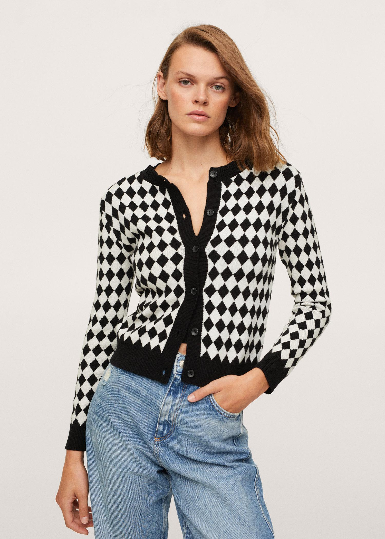 Check knitted cardigan