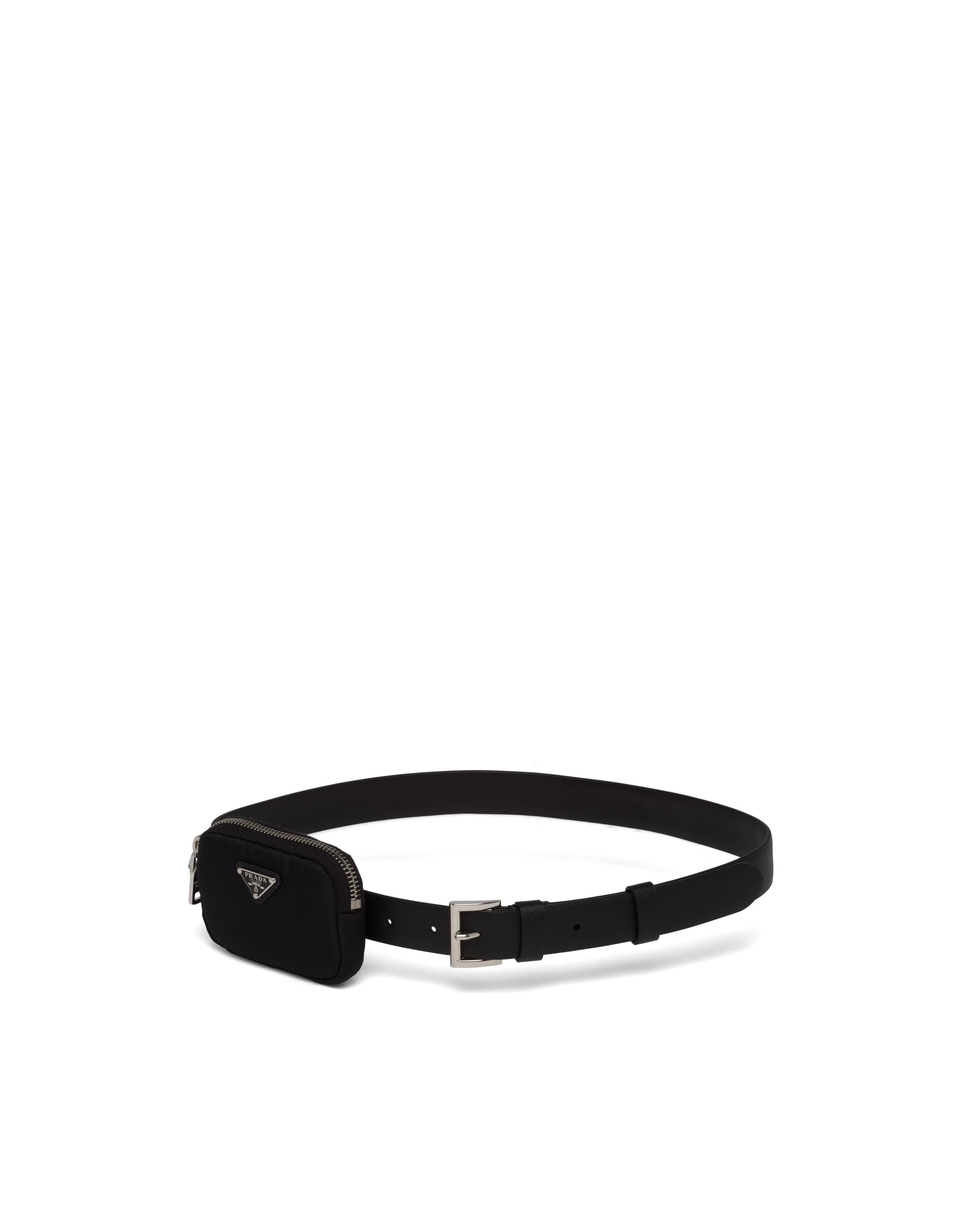 Saffiano Leather Belt With Pouch Women Black