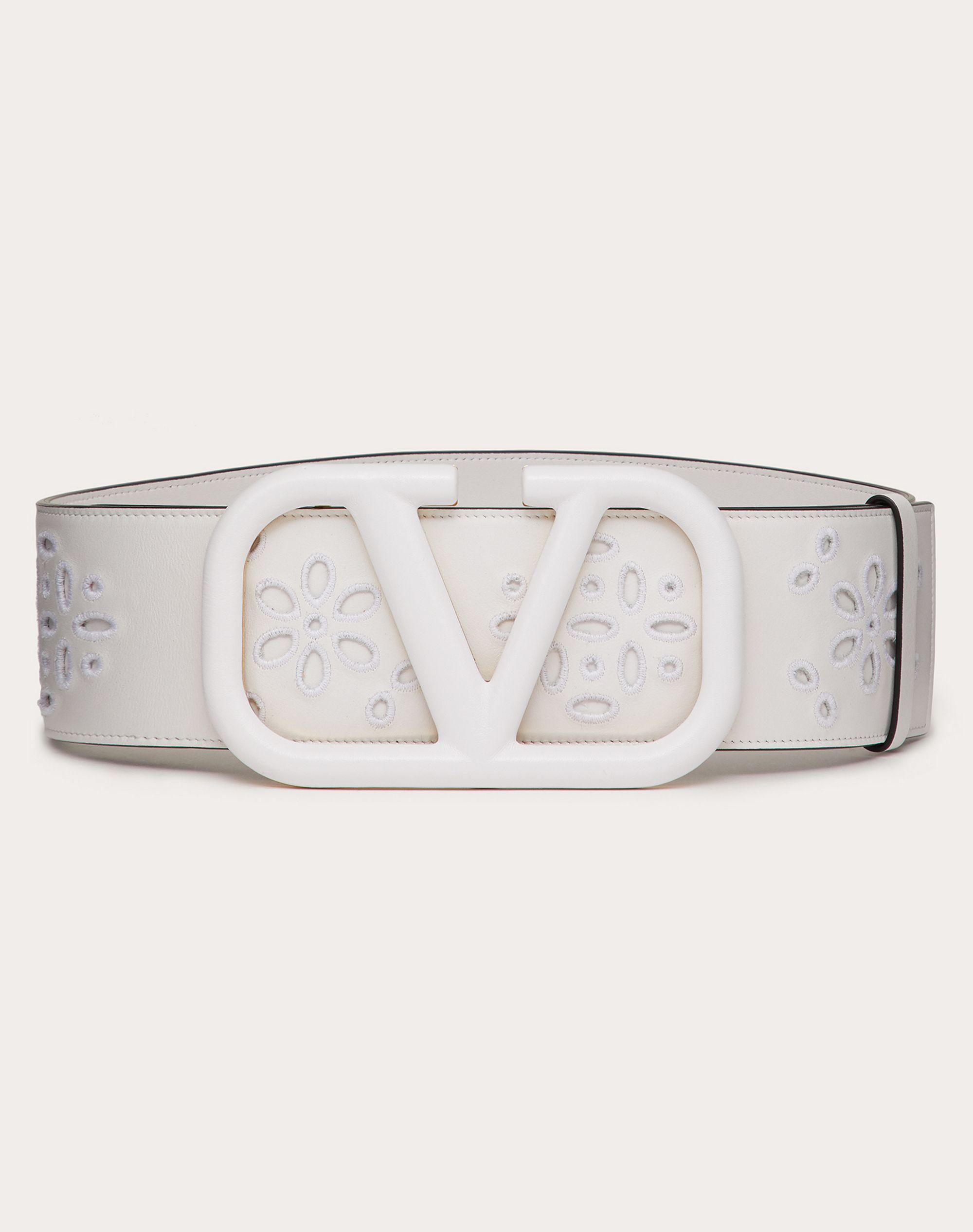 VLOGO SIGNATURE BELT IN CALFSKIN WITH SAN GALLO EMBROIDERY 70 MM