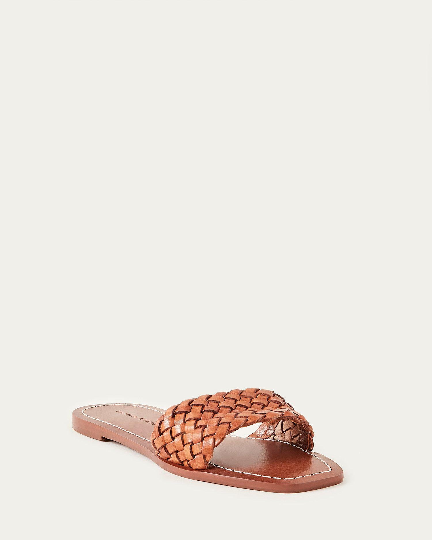 Joey Timber Brown Woven Leather Slide
