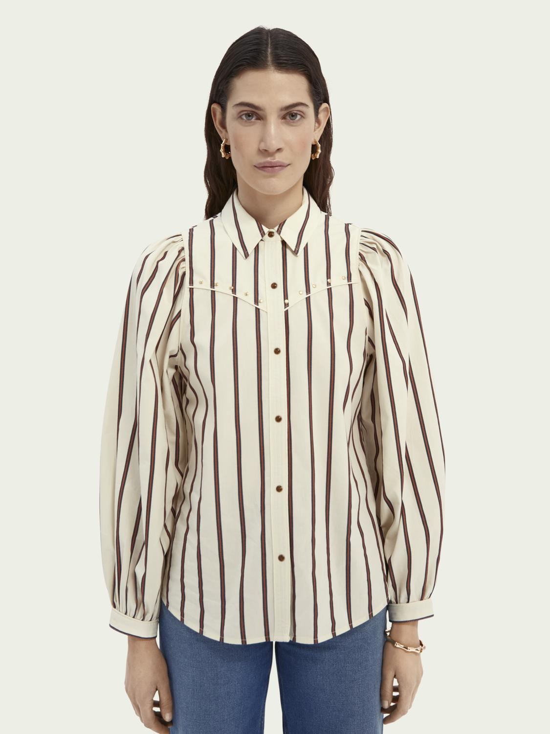 Western-style shirt with balloon sleeves