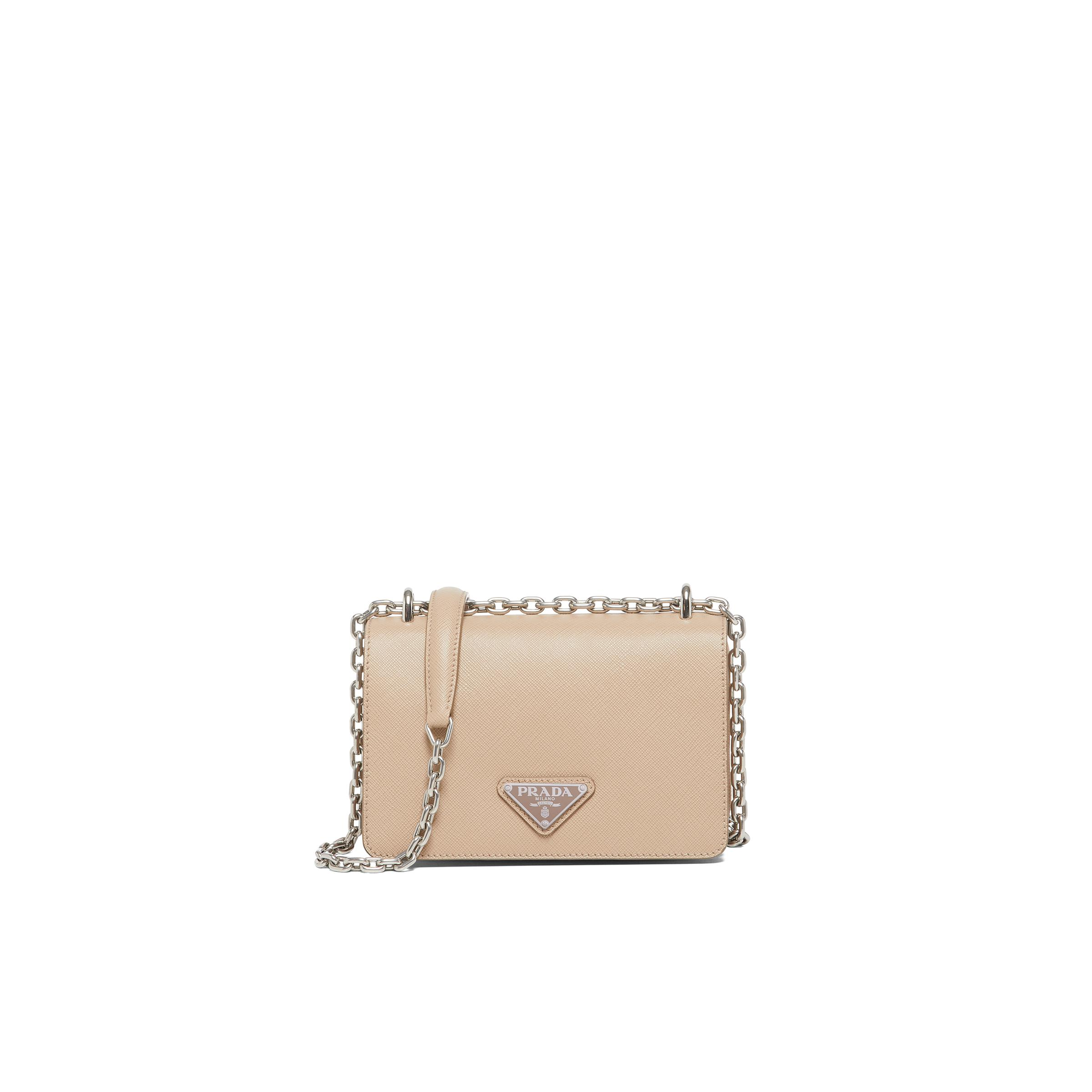 Nylon And Saffiano Leather Shoulder Bag Women Cameo Beige