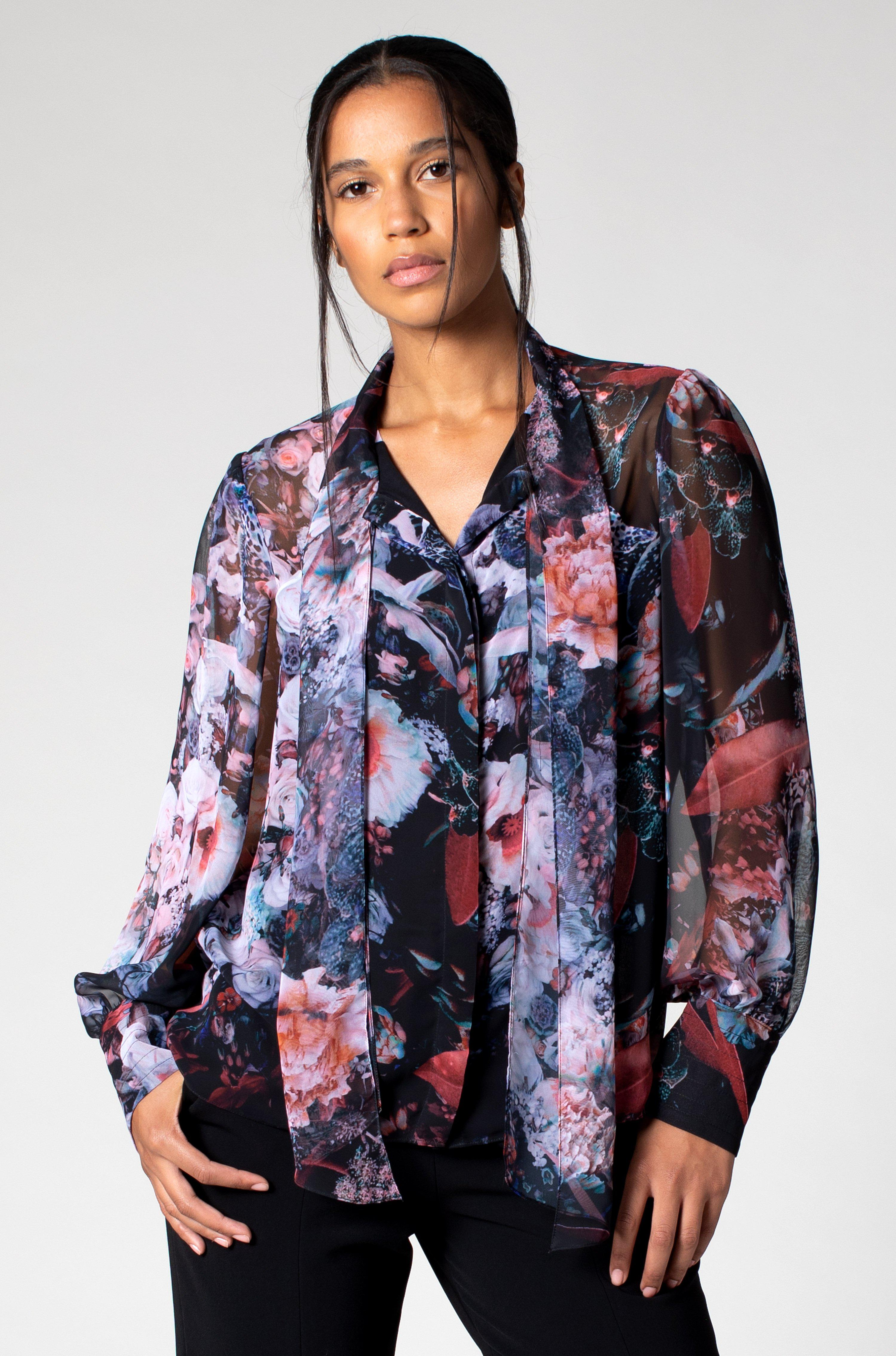 PRINTED BLOUSE WITH SCARF TIE