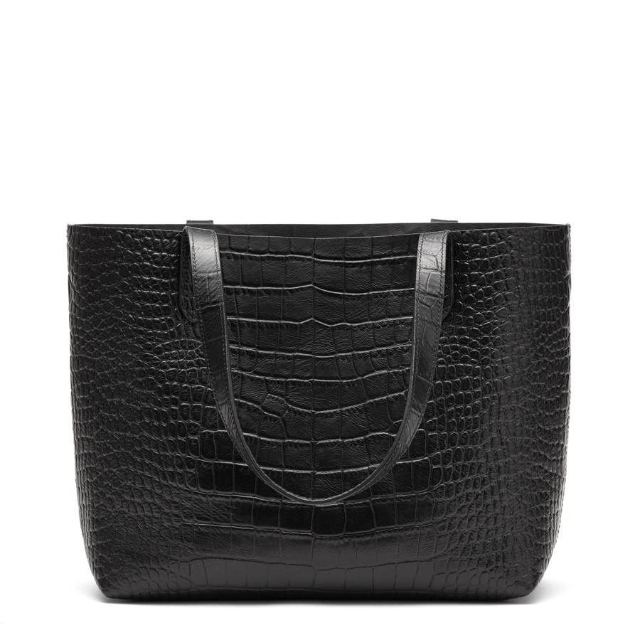 Women's Small Structured Leather Tote Bag in Textured Black | Croc-Embossed by Cuyana