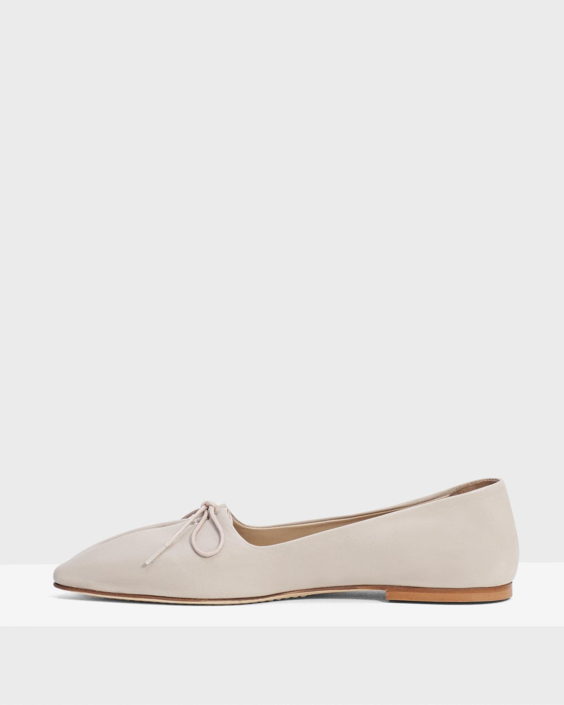 Pleated Ballet Flat in Leather 2