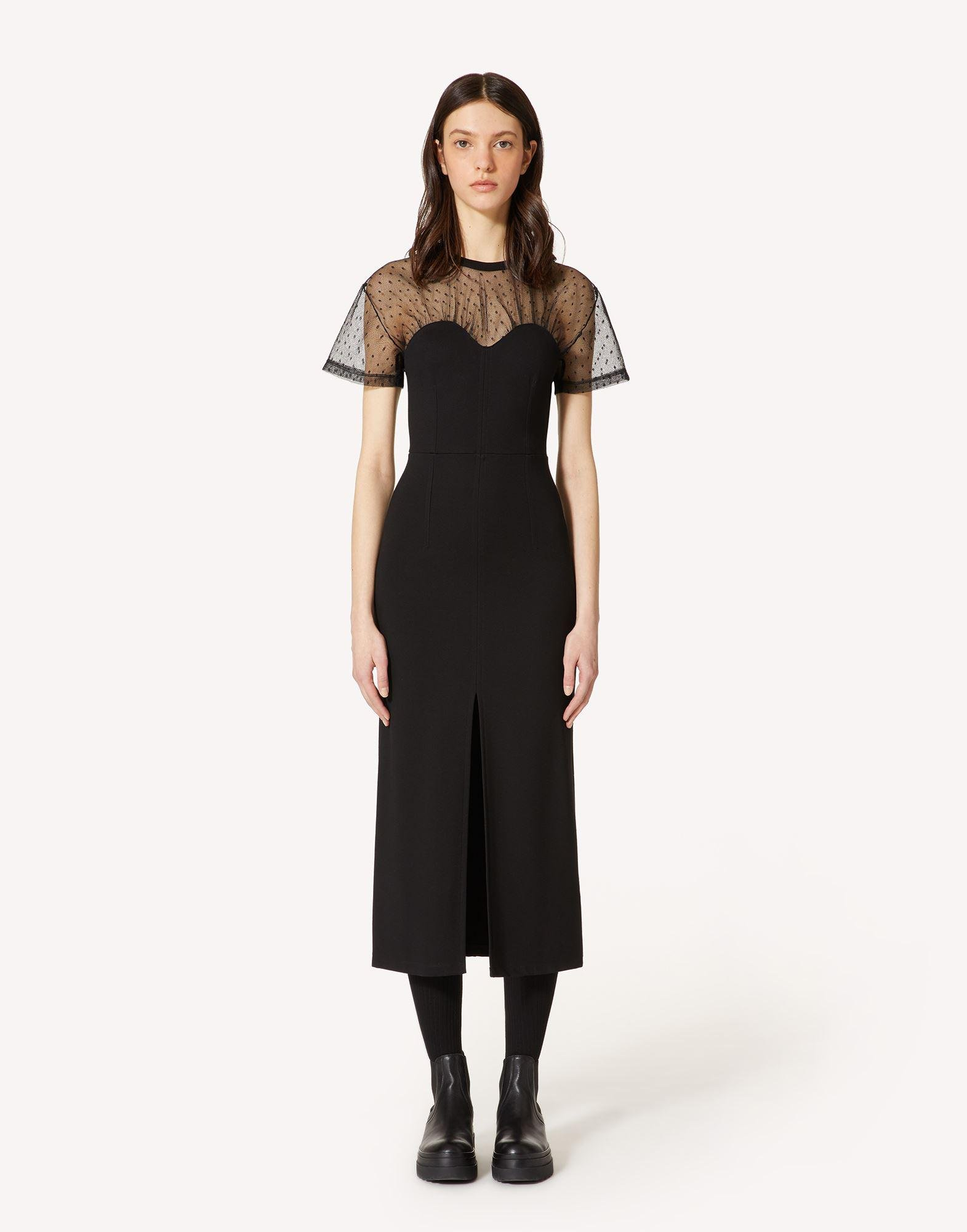 JERSEY AND POINT D'ESPRIT TULLE TUBE DRESS